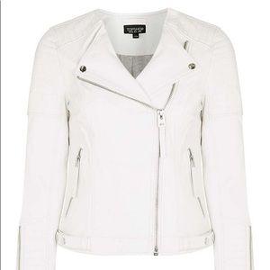 White TopShop Leather Moto Jacket